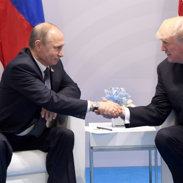 Image: U.S. President Donald Trump and Russia's President Vladimir Putin shake hands during a meeting on the sidelines of the G20 Summit in Hamburg, Germany, on July 7, 2017.