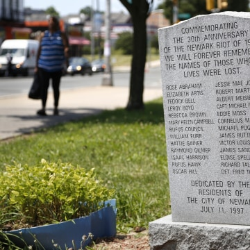 Image: A monument commemorates the Newark riots of 1967