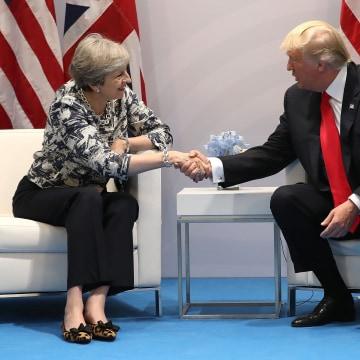 Image: Theresa May and Donald Trump at G20 in Hamburg