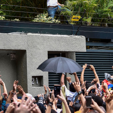 Image: Venezuelan opposition leader Leopoldo Lopez displays the Venezuelan national flag as he greets supporters gathering outside his house