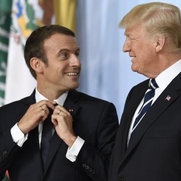 Image: Presidents Emmanuel Macron and Donald Trump at the G20 summit in Hamburg, Germany