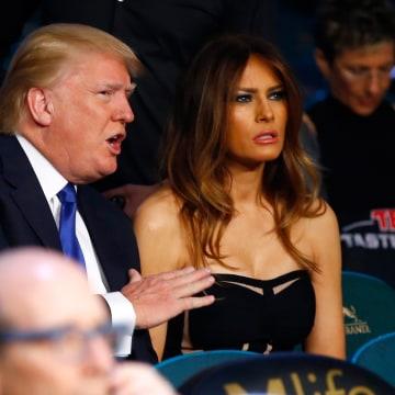 Image: Donald J. Trump and his wife Melania Trump, watch Vasyl Lomachenko take on Gamalier Rodriguez in their WBO featherweight championship