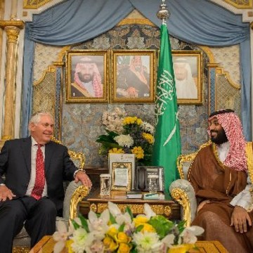 Image: U.S. Secretary of State Rex Tillerson and Crown Prince Mohammad bin Salman bin Abdel Aziz al-Saud