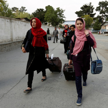 Image: Members of Afghan robotics girls team arrive to receive their visas from the U.S. embassy in Kabul