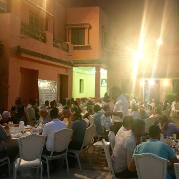 Image: The Jews invited the Muslims from the community in Marrakech to join together for the Iftar