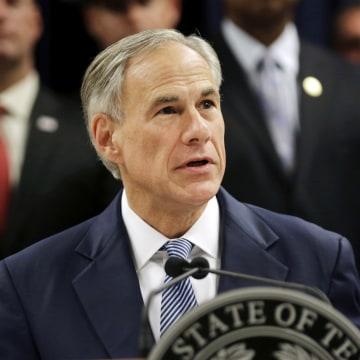 Image: Texas Gov. Greg Abbott speaks at a news conference in Houston