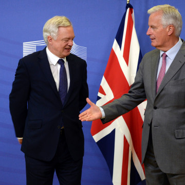 Image: David Davis and Michel Barnier
