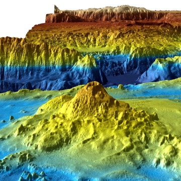 Image: One of images released by Geoscience Australia shows a three-dimensional view of the sea floor searched in the hunt for MH370