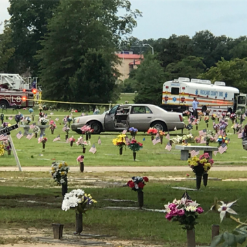 Image: The aftermath at Greenlawn Memorial Park