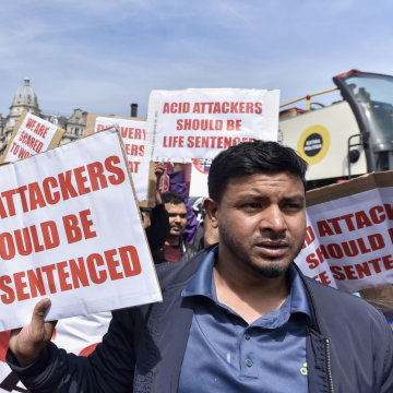 Image: Moped riders stage a protest in Parliament Square demanding that the government act on moped thefts in the light of recent acid attacks