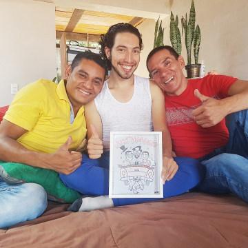 Image: Alejandro Rodriguez, Victor Hugo Prada and Manuel Bermudez are planning to hold a public wedding ceremony