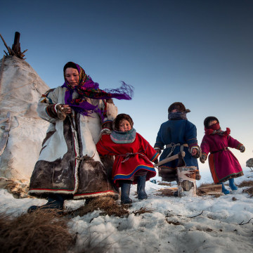 Image: A family of reindeer herders is seen some 90