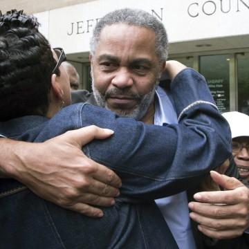 Image:  Anthony Ray Hinton gets a hug