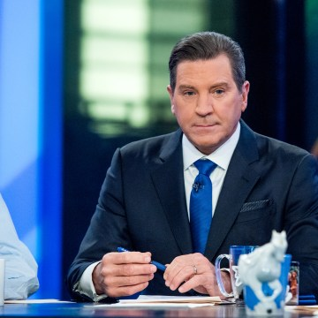"Image: Fox Host Eric Bolling sits on the panel of Fox News Channel's ""The Five"" as pundit Bob Beckel rejoins the show at FOX Studios on Jan. 17, 2017 in New York City."