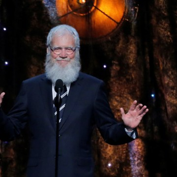 Image: David Letterman speaks  during the 32nd Annual Rock & Roll Hall of Fame Induction Ceremony Show