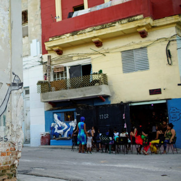 Image: The picture shows a graffiti of Cuban artist Fabian Lopez in downtown Havana, Cuba