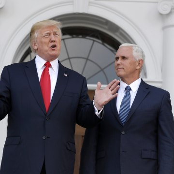 Image: President Donald Trump, accompanied by Vice President Mike Pence, speaks before a security briefing