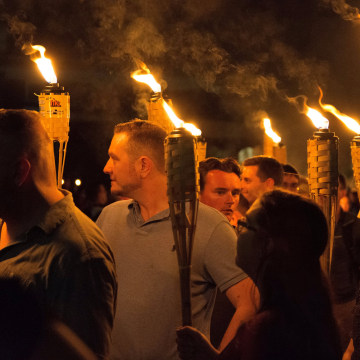 Image: White nationalists carry torches on the grounds of the University of Virginia