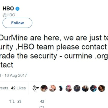IMAGE: HBO Twitter hack