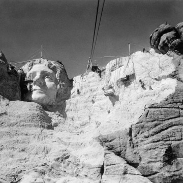 View of Mount Rushmore in Progress