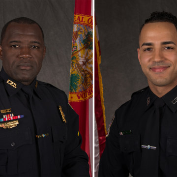 Image: Officers Matthew Baxter, left, and Sam Howard, right, who were both shot and killed in Kissimmee, Florida, on Friday, Aug. 18, 2017.