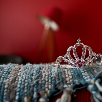Image: A rhinestoned crown sits on a sofa in Luna's home in Santiago, Chile.