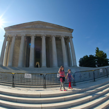 Image: Visitors to the Jefferson Memorial are turned away by barricades due to the government shutdown