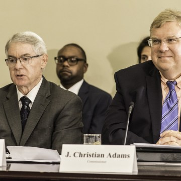 Image: Commissioners Alan King, left, and  J. Christian Adams.