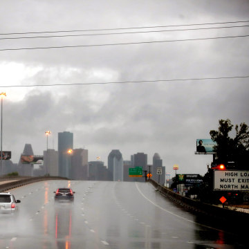 Image: Hurricane Harvey batters downtown Houston, Saturday.