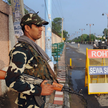Image: Security tight on road leading to Sunaria Jail in India