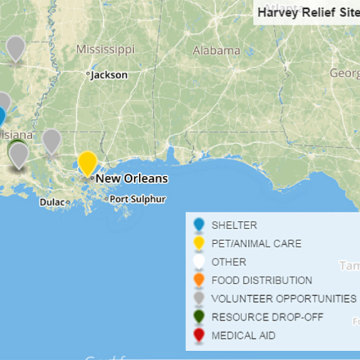 Image: Twitter's @HarveyRelief's map directs people to shelters, resources, aid and volunteer opportunities