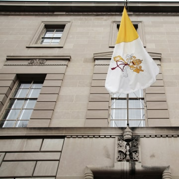 An exterior view of the Vatican embassy is seen in Washington