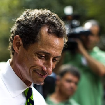 Image: Then-New York City Democratic mayoral candidate Anthony Weiner leaves a polling center after casting his vote during the primary election in New York Sept. 10, 2013.
