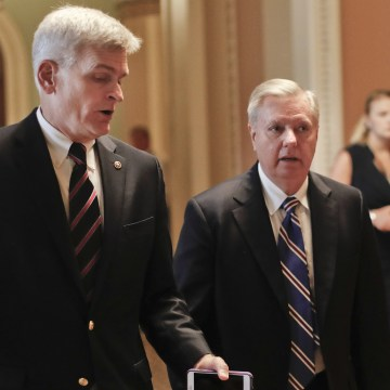 Image: Bill Cassidy and Lindsey Graham  talk while walking to a meeting on Capitol Hill