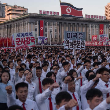 Image: North Koreans at mass rally