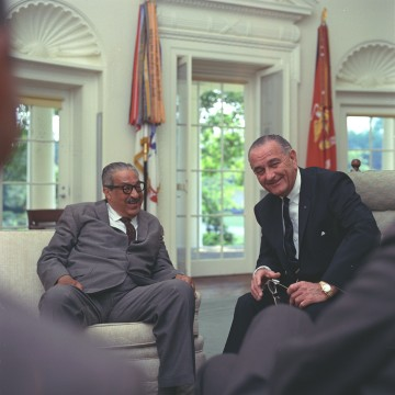 Image: Thurgood Marshall and President Lyndon B. Johnson meet regarding announcement of Marshall's nomination as an Associate Justice of the Supreme Court, June 13, 1967.