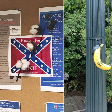 Image: A confederate flag poster with a cotton plant attached, as well as a racist banana outside the Hurst building, both at American University in Washington, DC