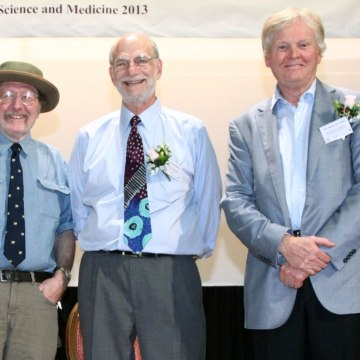 Image: U.S. geneticists Jeffrey C. Hall, Michael Rosbash, and Michael W. Young during a lecture at Shaw College of the Chinese University of Hong Kong on Sept. 25, 2013.