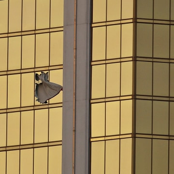 Image: Stephen Paddock's hotel room window