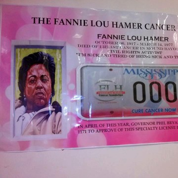 Image: A sample Breast cancer license plate in honor of Fannie Lou Hamer, that was signed into law by Mississippi Governor Phil Bryant on April 22, 2015.
