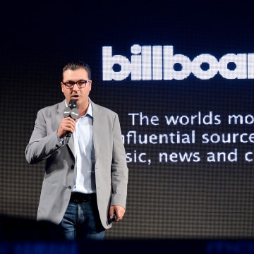 Image: President of Billboard Group John Amato speaks onstage at the Billboard Twitter Real-Time Charts Launch at The Diamond Horseshoe on May 27, 2014 in New York City.