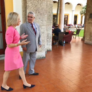 Image: Andrea Mitchell interviews a Cuban doctor