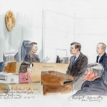 Image: A courtroom sketch of Paul Manafort and Richard Gates appearing before magistrate judge Deborah Robinson