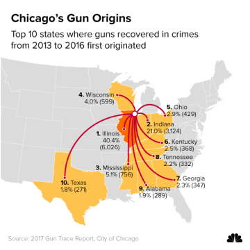 Image: Top 10 states where guns recovered in crimes from 2013 to 2016 first originated.