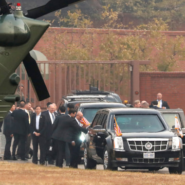 Image: Trump grounded from visiting the observation post in the DMZ truce village of Panmunjom near Seoul, South Korea