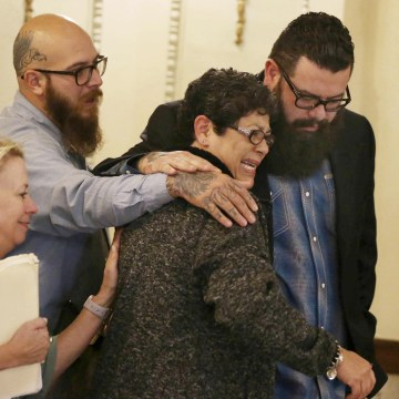 "Image: Christopher ""Jake"" Carrizal, right, the McLennan County court room with his mother Sonia, left, following a mistrial on Nov. 10, 2017, in Waco, Texas."