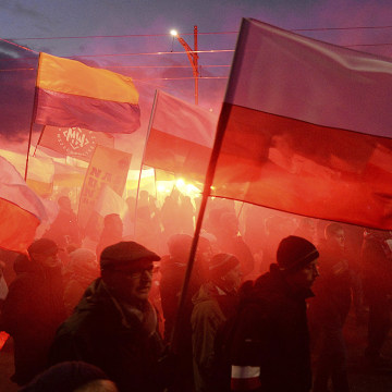Image: Demonstrators in Warsaw on Saturday