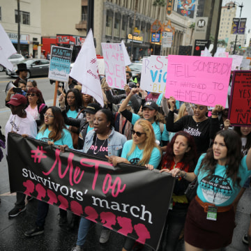 Image: People participate in a protest march for survivors of sexual assault and their supporters on Hollywood Boulevard in Hollywood, Los Angeles, on Nov. 12, 2017.