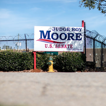 Image: A campaign sign for Republican U.S. Senate candidate Roy Moore is seen, Saturday, Nov. 11, 2017, in Birmingham, Alabama.