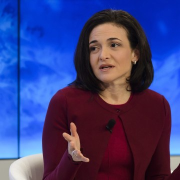 Image: Sheryl Sandberg speaks during a panel session on the first day of the 46th Annual Meeting of the World Economic Forum in Davos,
